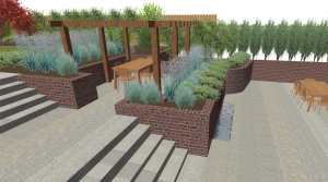 Rendered garden design Hertfordshire