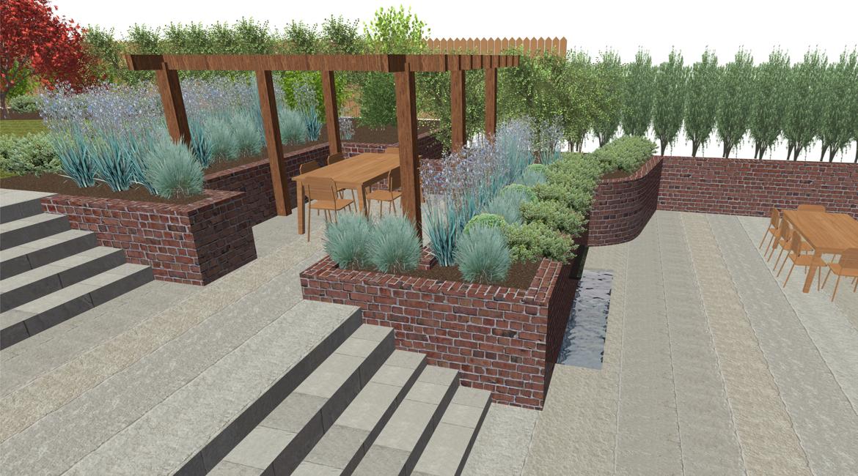 Rendered garden design Hertfordshire