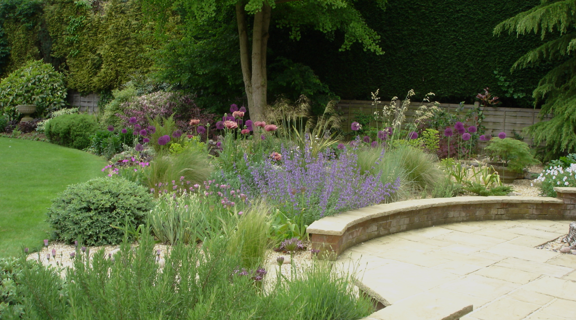 Hertfordshire garden design with drought tolerant planting.
