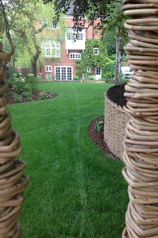 Curved lawn through willow screen.