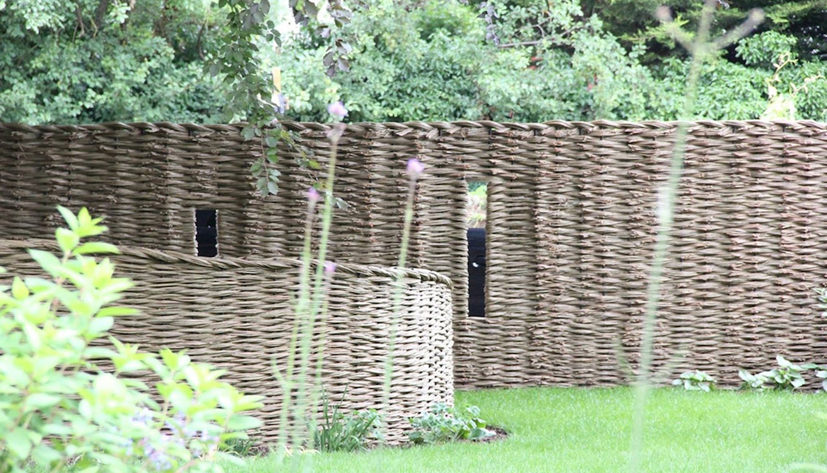 Attractive willow screen for car park area