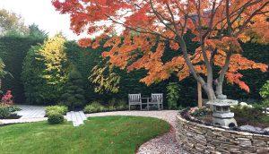 Japanese garden design with quartz paddle-stone raised bed