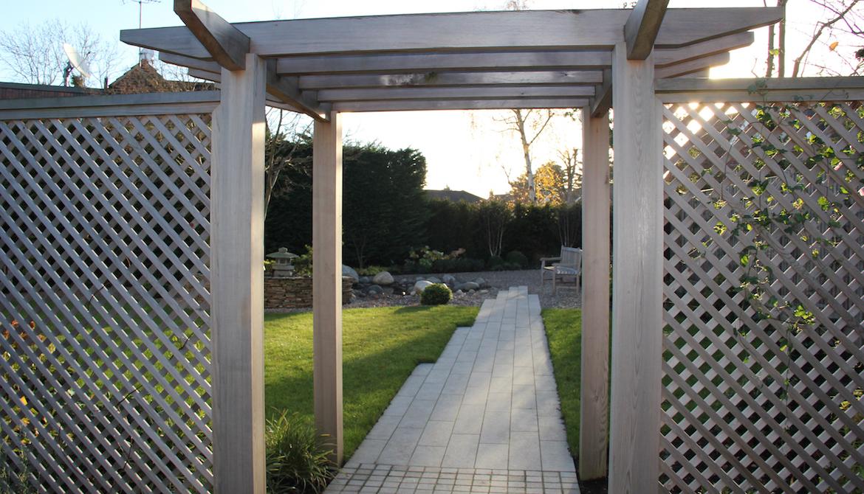 Pergola in Japanese inspired Garden in Hertfordshire