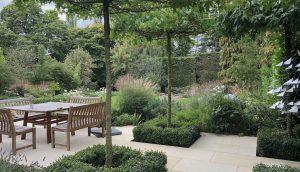 Hertfordshire garden design with shaded terrace in contemporary new build garden design