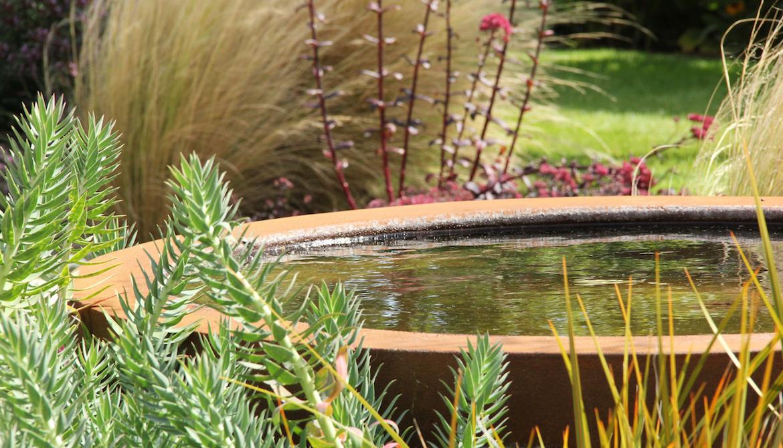 Urbis water bowl in Hertfordshire by garden designer Amanda Broughton