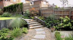 Timber retaining wall in North London Garden Design